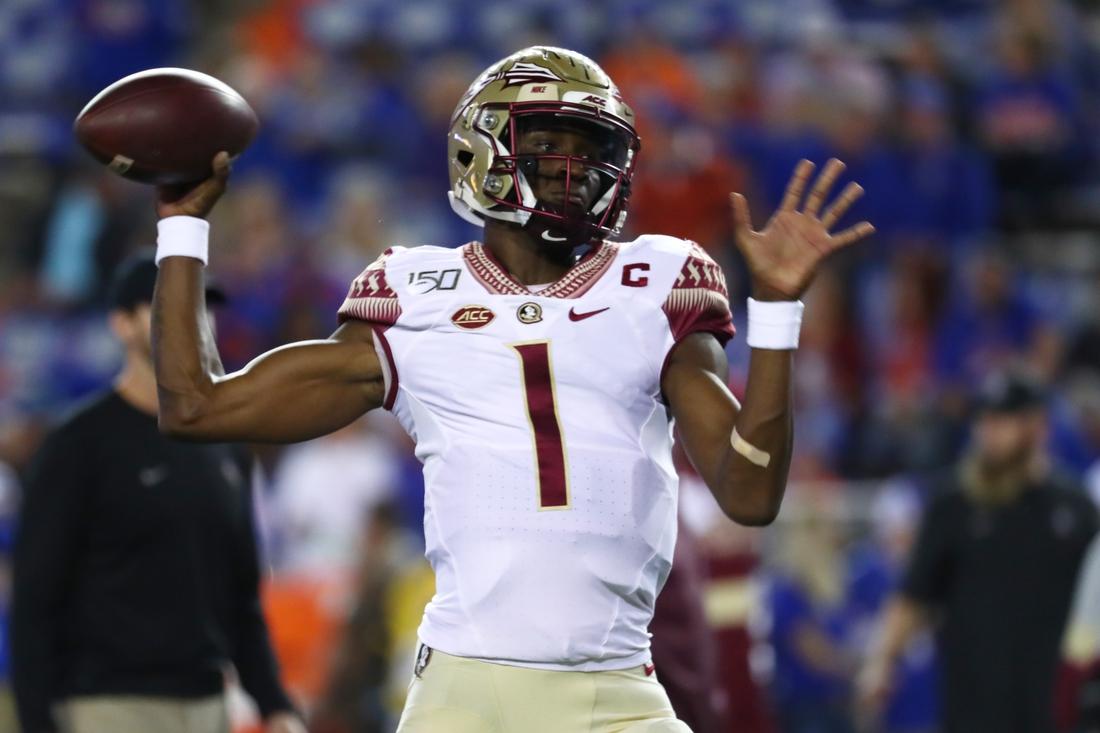 Nov 30, 2019; Gainesville, FL, USA; Florida State Seminoles quarterback James Blackman (1) works out prior to the game against the Florida Gators at Ben Hill Griffin Stadium. Mandatory Credit: Kim Klement-USA TODAY Sports