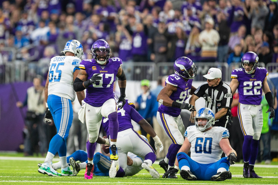 Dec 8, 2019; Minneapolis, MN, USA; Minnesota Vikings defensive end Everson Griffen (97) reacts after sacking Detroit Lions quarterback David Blough (10) during the third quarter at U.S. Bank Stadium. Mandatory Credit: Harrison Barden-USA TODAY Sports