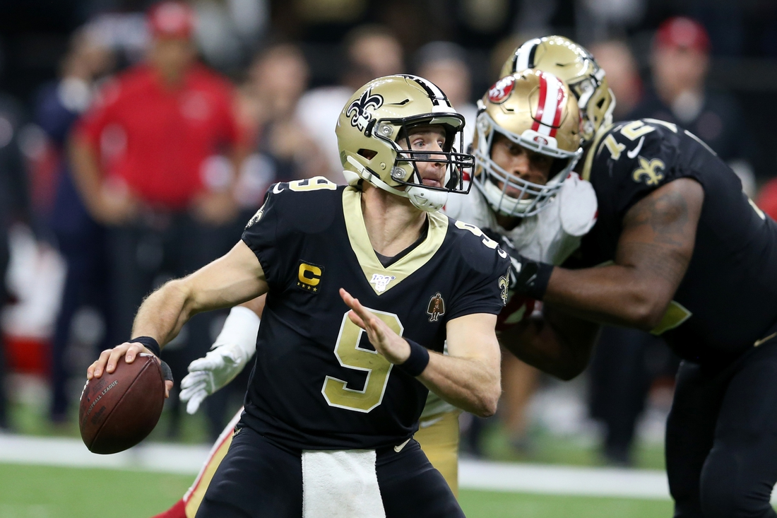Dec 8, 2019; New Orleans, LA, USA; New Orleans Saints quarterback Drew Brees (9) is pressured by San Francisco 49ers defensive end Solomon Thomas (94) in the second half at the Mercedes-Benz Superdome. The 49ers won, 48-46. Mandatory Credit: Chuck Cook-USA TODAY Sports
