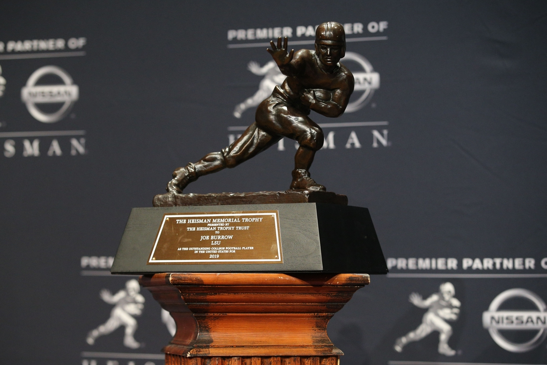 Dec 14, 2019; New York, NY, USA; Detail view of LSU Tigers quarterback Joe Burrow's Heisman Trophy during a post ceremony press conference at the New York Marriott Marquis. Mandatory Credit: Brad Penner-USA TODAY Sports