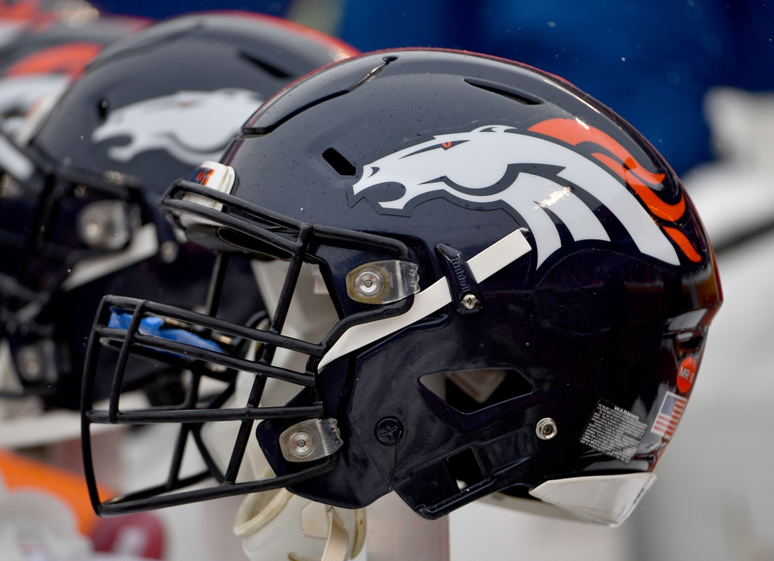 Dec 15, 2019; Kansas City, MO, USA; A general view of a Denver Broncos helmet during the game against the Kansas City Chiefs at Arrowhead Stadium. Mandatory Credit: Denny Medley-USA TODAY Sports