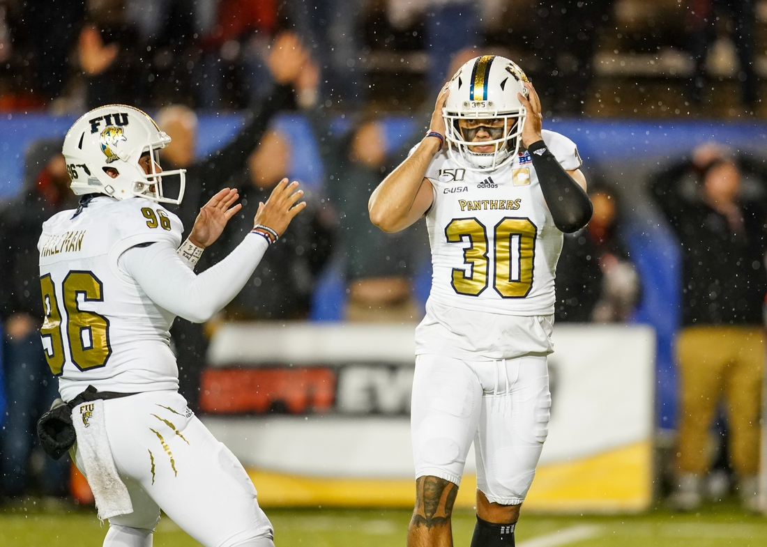 Dec 21, 2019; Montgomery, Alabama, USA; Fiu Golden Panthers place kicker Jose Borregales (30) reacts after missing a field goal late in the 4th quarter against Arkansas State Red Wolves at Cramton Bowl. Mandatory Credit: Marvin Gentry-USA TODAY Sports