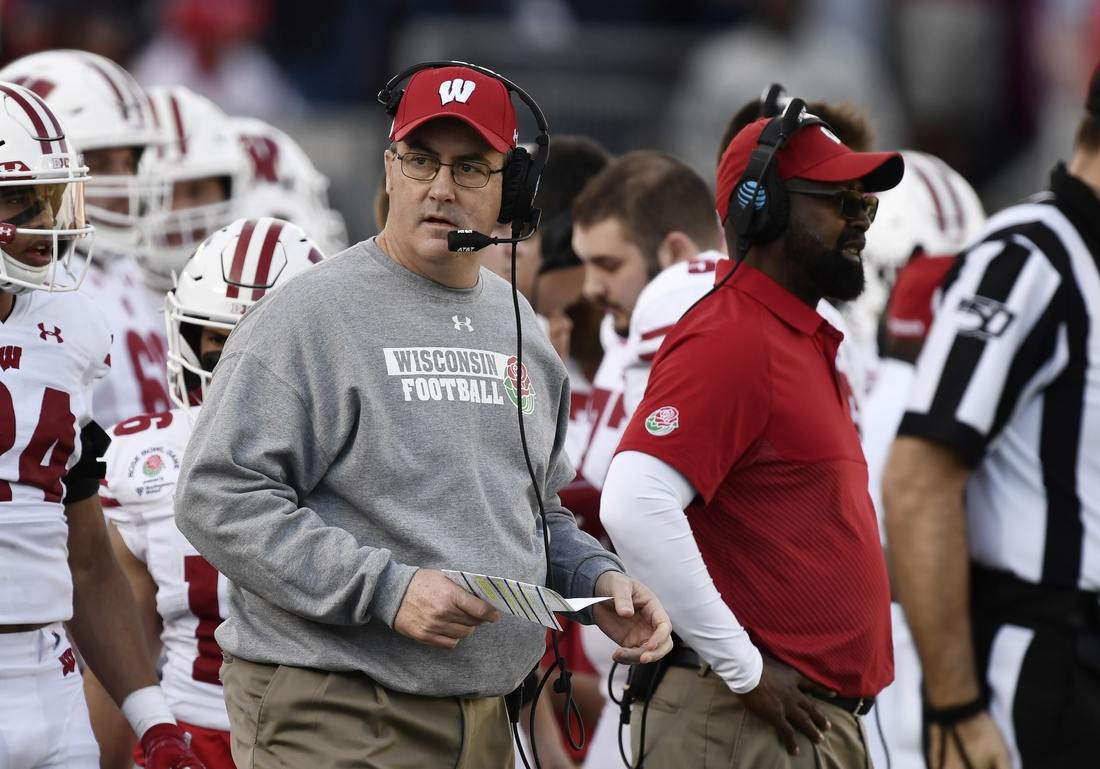 Jan 1, 2020; Pasadena, California, USA; Wisconsin Badgers head coach Paul Chryst looks on in the first half against the Oregon Ducks in the 106th Rose Bowl game at Rose Bowl Stadium. Mandatory Credit: Robert Hanashiro-USA TODAY Sports