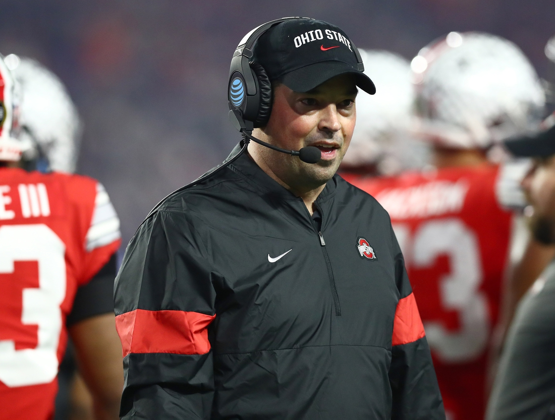 Dec 28, 2019; Glendale, Arizona, USA; Ohio State Buckeyes head coach Ryan Day on the sidelines during the game against the Clemson Tigers in the 2019 Fiesta Bowl college football playoff semifinal game. Mandatory Credit: Matthew Emmons-USA TODAY Sports