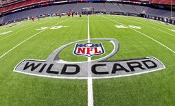 Jan 4, 2020; Houston, Texas, USA;  A view of the Wild Card logo before the AFC Wild Card NFL Playoff game between the Houston Texans and the Buffalo Bills at NRG Stadium. Mandatory Credit: Troy Taormina-USA TODAY Sports