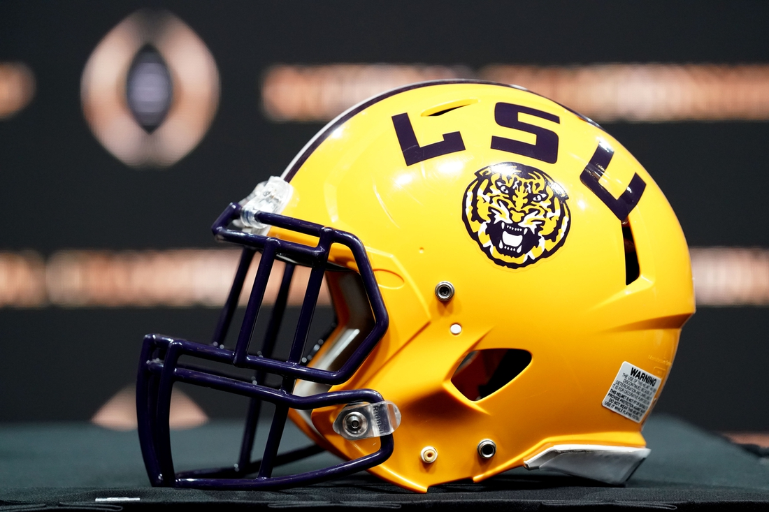Jan 12, 2020; New Orleans, Louisiana, USA; An LSU Tigers helmet on display before the head coaches press conference for the CFP with LSU Tigers head coach Ed Orgeron and Clemson Tigers head coach Dabo Swinney at the Sheraton New Orleans, Grand Ballroom. Mandatory Credit: John David Mercer-USA TODAY Sports
