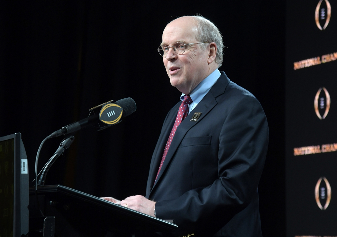 Jan 14, 2020; New Orleans, Louisiana, USA; College Football Playoff director Bill Hancock speaks during the CFP National Championship host committee  press conference at the Sheraton New Orleans.  Mandatory Credit: Kirby Lee-USA TODAY Sports