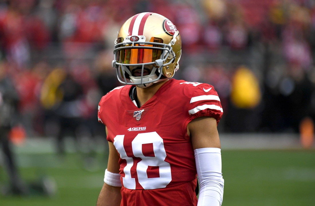 Jan 19, 2020; Santa Clara, California, USA; San Francisco 49ers wide receiver Dante Pettis (18) during the NFC Championship game against the Green Bay Packers at Levi's Stadium.The 49ers defeated the Packers 37-20. Mandatory Credit: Kirby Lee-USA TODAY Sports