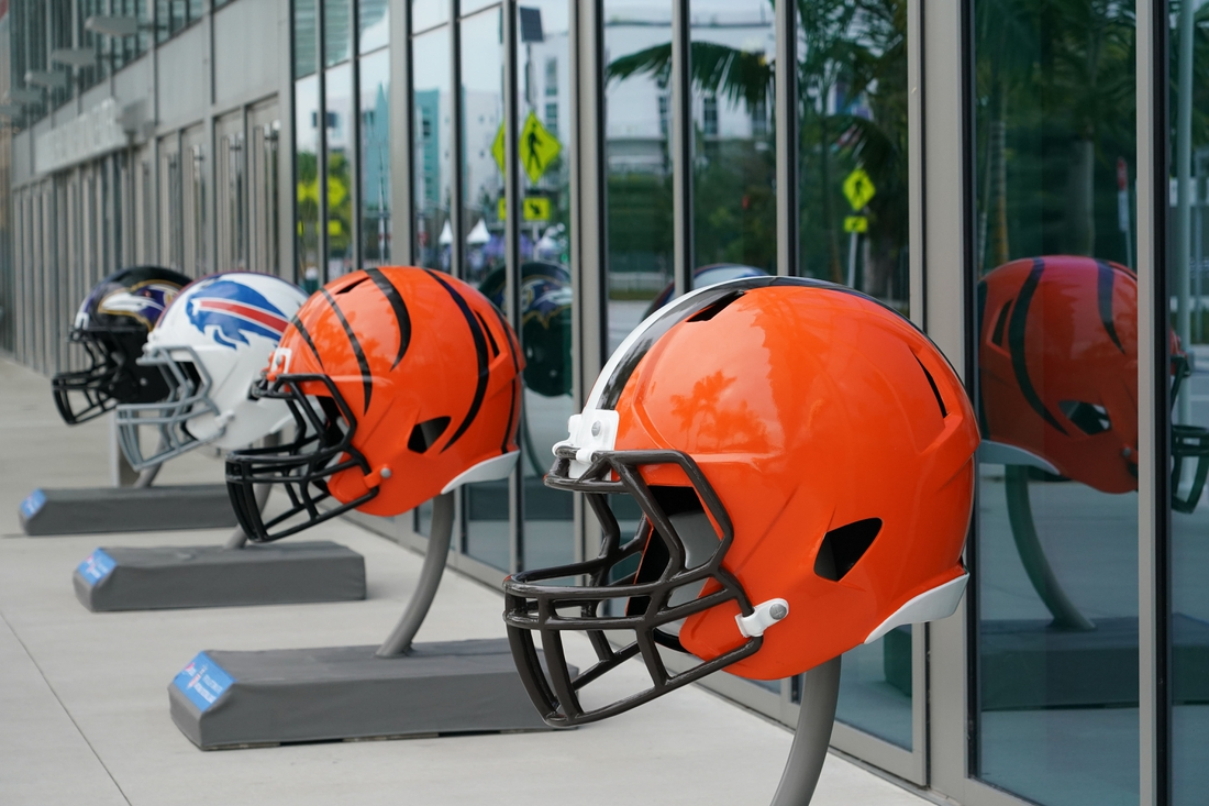 Jan 27, 2020; Miami Beach, Florida; USA; General overall view of  Cleveland Browns, Cincinnati Bengals and Buffalo Bills helmets at the NFL Experience at the Miami Beach Convention Center. Mandatory Credit: Kirby Lee-USA TODAY Sports