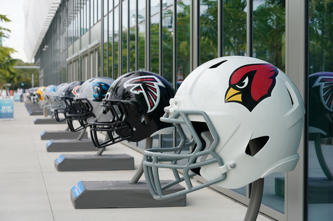 Jan 27, 2020; Miami Beach, Florida; USA; General overall view of Arizona Cardinals and Atlanta Falcons helmets at the NFL Experience at the Miami Beach Convention Center. Mandatory Credit: Kirby Lee-USA TODAY Sports