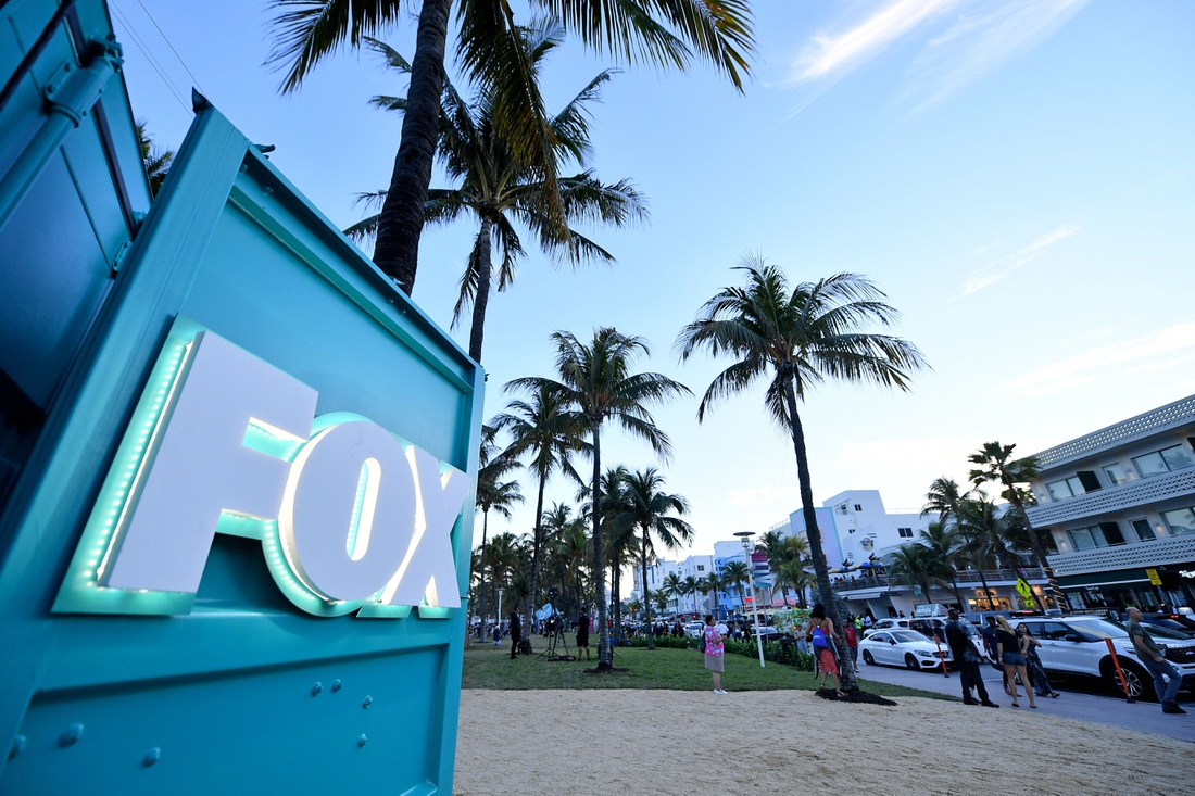 Jan 30, 2020; Miami, Florida, USA; A general view of the FOX logo on Ocean drive in South Beach Miami prior to Super Bowl LIV between the San Francisco 49ers at Kansas City Chiefs. Mandatory Credit: Jasen Vinlove-USA TODAY Sports