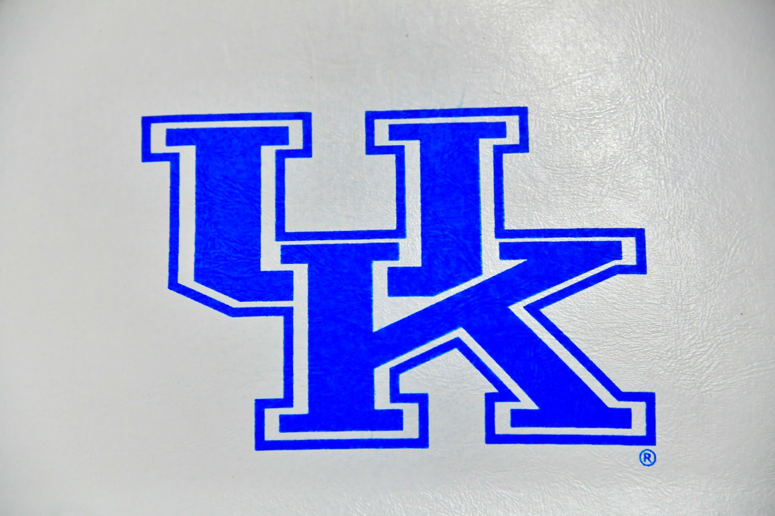 Feb 11, 2020; Nashville, Tennessee, USA; Kentucky Wildcats logo on a court side seat prior to the game against the Vanderbilt Commodores at Memorial Gymnasium. Mandatory Credit: Jim Brown-USA TODAY Sports