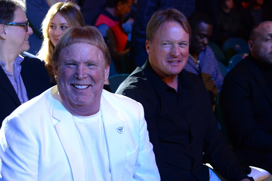Feb 22, 2020; Las Vegas, Nevada, USA; Las Vegas Raiders owner Mark Davis and head coach John Gruden attend the WBC heavyweight title bout between Deontay Wilder and Tyson Fury at MGM Grand Garden Arena. Mandatory Credit: Joe Camporeale-USA TODAY Sports
