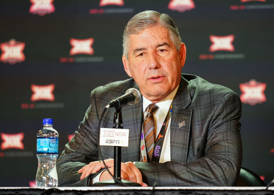 Mar 12, 2020; Kansas City, Missouri, USA; Big 12 commissioner Bob Bowlsby announces to media that Big 12 Tournament games are canceled at Sprint Center. Mandatory Credit: Jay Biggerstaff-USA TODAY Sports