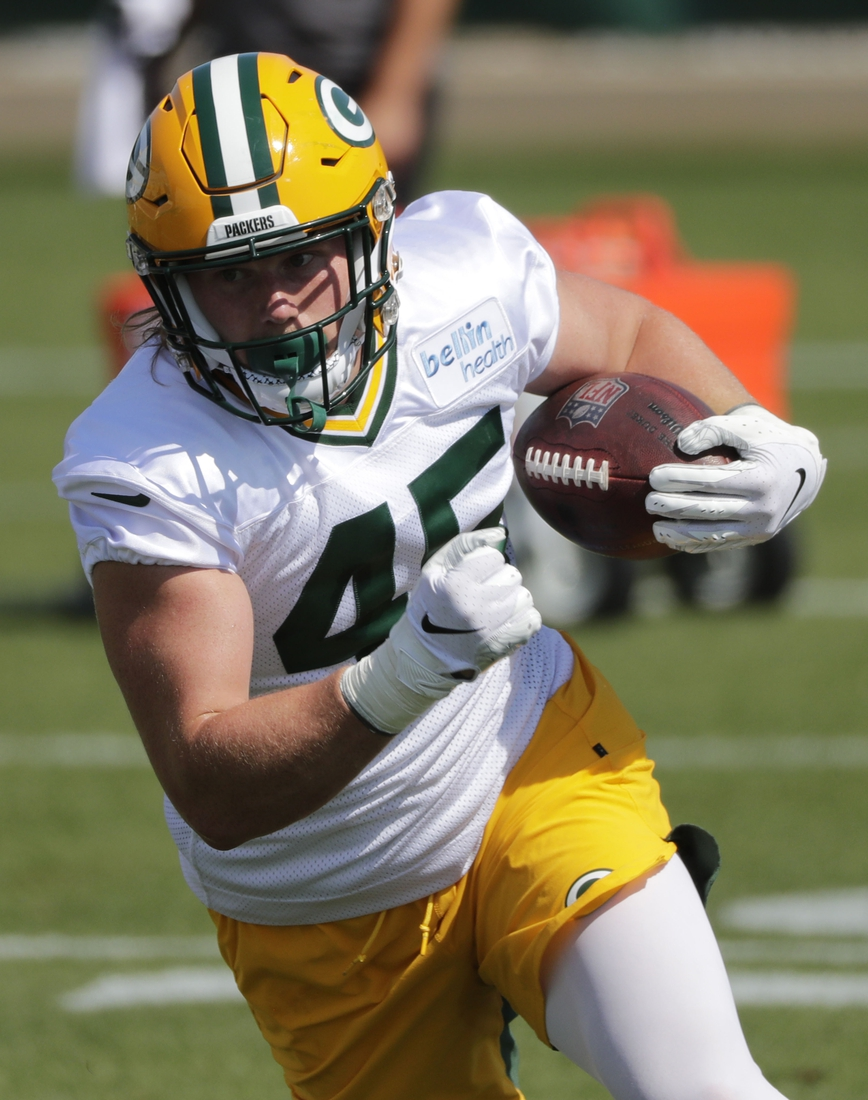 Aug 17, 2020; Green Bay, WI, USA; Green Bay Packers fullback John Lovett is shown during training camp in Green Bay, Wis. Mandatory Credit: Dan Powers-USA TODAY Sports