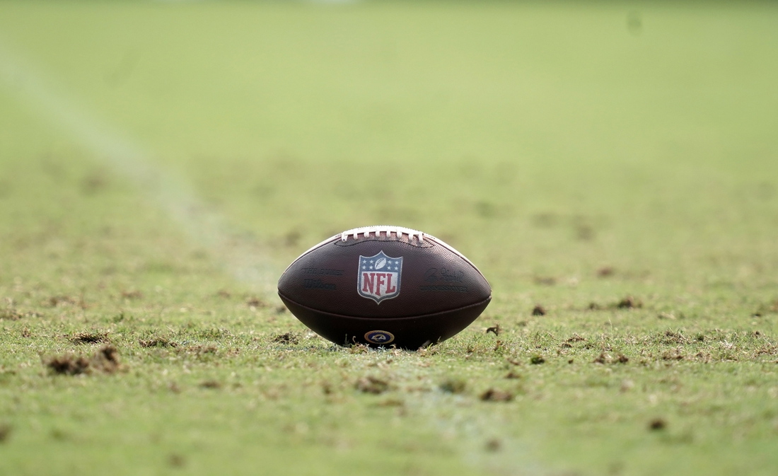 Aug 18, 2020; Thousand Oaks California, USA; A general view of a NFL official Wilson Duke football with metallic shield lgoo introduced for the 2020 season at Los Angeles Rams training camp at Cal Lutheran University. Mandatory Credit: Kirby Lee-USA TODAY Sports