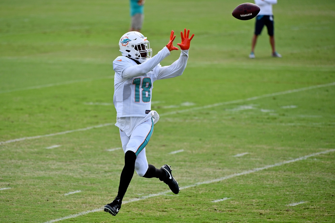 Aug 22, 2020; Miami Gardens, Florida, USA; Miami Dolphins wide receiver Preston Williams (18) catches a pass during training camp at Baptist Health Training Facility. Mandatory Credit: Jasen Vinlove-USA TODAY Sports