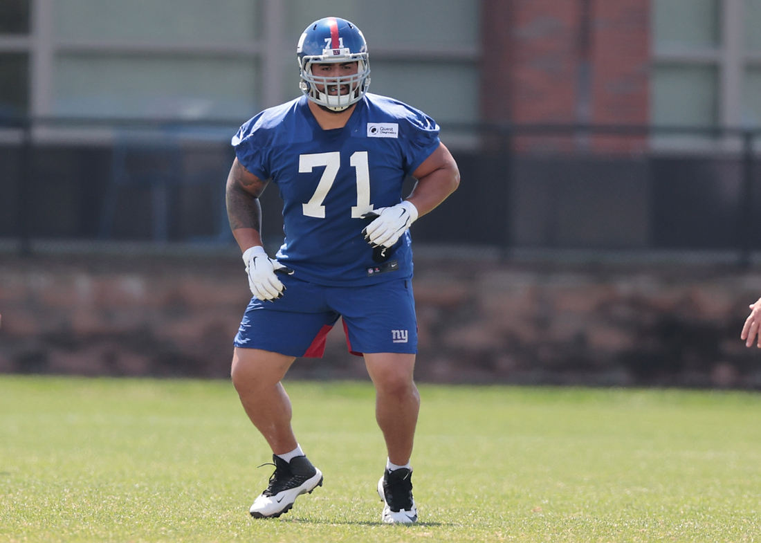 Aug 23, 2020; East Rutherford, New Jersey, USA; New York Giants guard Will Hernandez (71) participates in drills during training camp at Quest Diagnostics Training Center.  Mandatory Credit: Vincent Carchietta-USA TODAY Sports