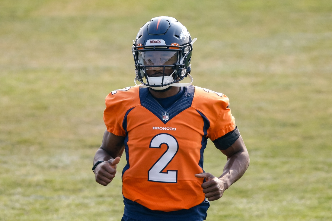 Aug 25, 2020; Englewood, Colorado, USA; Denver Broncos wide receiver Kendall Hinton (2) during training camp at the UCHealth Training Center. Mandatory Credit: Isaiah J. Downing-USA TODAY Sports