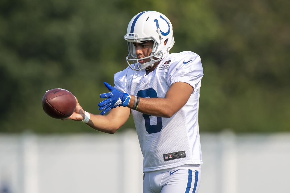 Aug 26, 2020; Indianapolis, Indiana, USA;  Indianapolis Colts punter Rigoberto Sanchez (8) practices dropping the ball for a kick during colts training camp at the Farm Bureau Football Complex. Mandatory Credit: Marc Lebryk-USA TODAY Sports