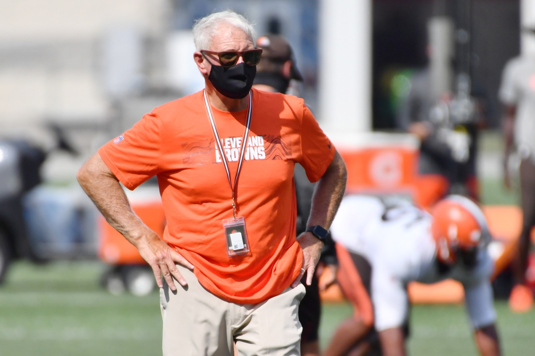 Aug 27, 2020; Berea, Ohio, USA; Cleveland Browns owner Jimmy Haslam watches practice during training camp at the Cleveland Browns training facility. Mandatory Credit: Ken Blaze-USA TODAY Sports