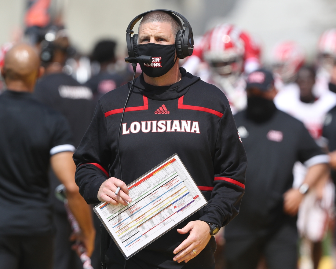 Sep 12, 2020; Ames, Iowa, USA; Louisiana-Lafayette Ragin Cajuns head coach Billy Napier watches his team play against the Iowa State Cyclones at Jack Trice Stadium. The Ragin Cajuns beat the Cyclones 31 to 14.   Mandatory Credit: Reese Strickland-USA TODAY Sports