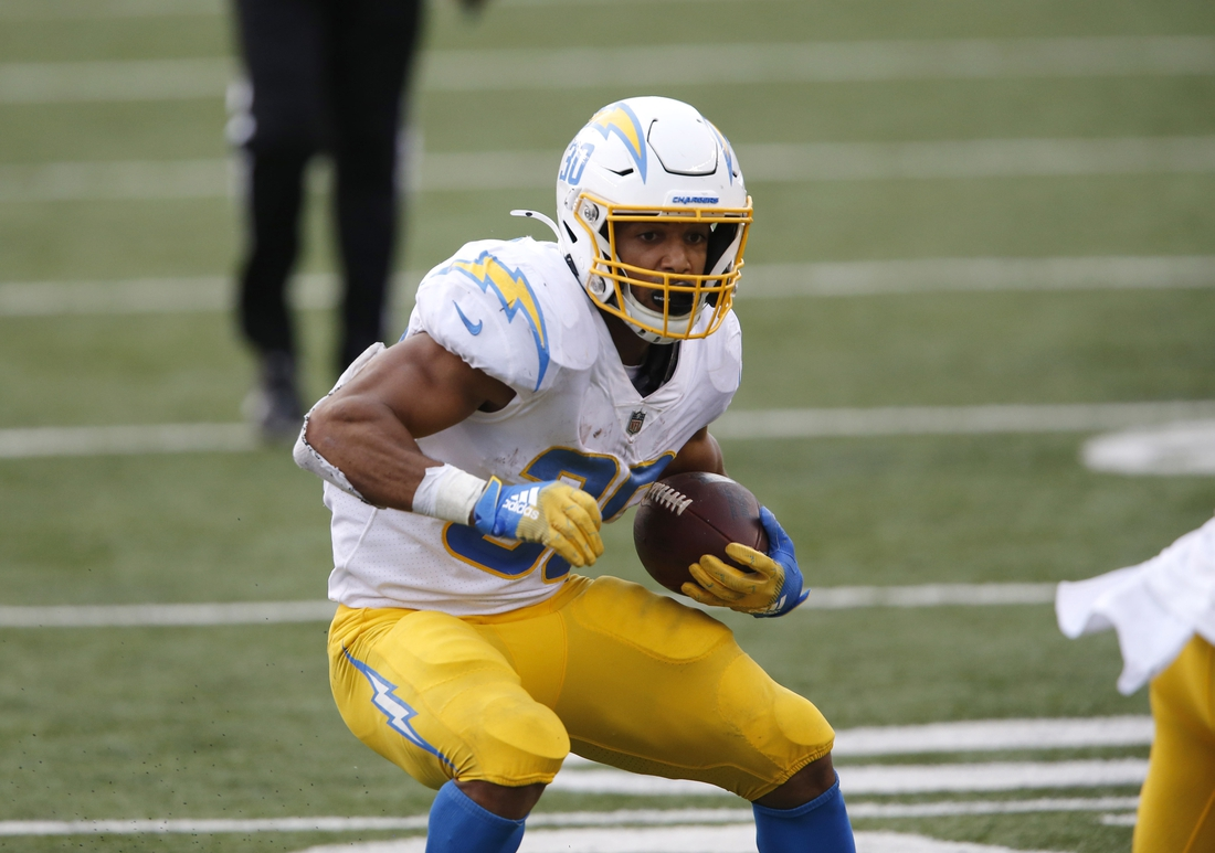 Sep 13, 2020; Cincinnati, Ohio, USA; Los Angeles Chargers running back Austin Ekeler (30) during the second half against the Cincinnati Bengals at Paul Brown Stadium. Mandatory Credit: Joseph Maiorana-USA TODAY Sports