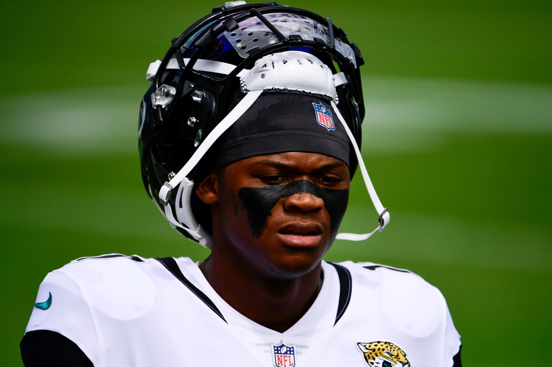 Sep 13, 2020; Jacksonville, Florida, USA; Jacksonville Jaguars wide receiver DJ Chark Jr. (17) looks on prior to the game against the Indianapolis Colts at TIAA Bank Field. Mandatory Credit: Douglas DeFelice-USA TODAY Sports
