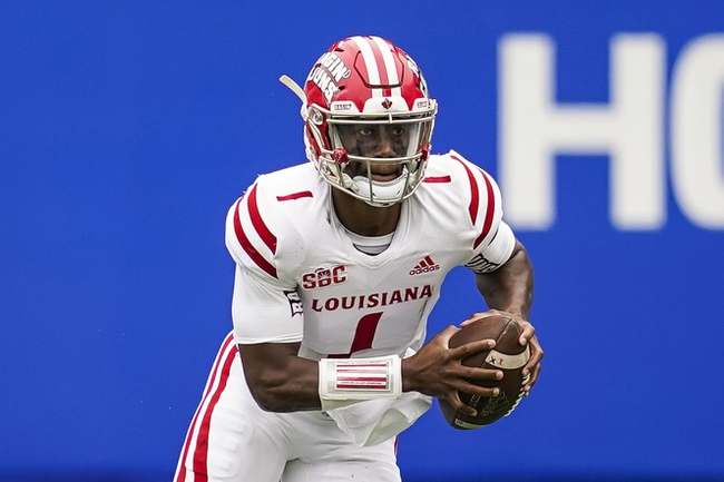 Sep 19, 2020; Atlanta, Georgia, USA; Louisiana-Lafayette Ragin Cajuns quarterback Levi Lewis (1) runs with the ball against the Georgia State Panthers during the first half at Center parc Stadium. Mandatory Credit: Dale Zanine-USA TODAY Sports