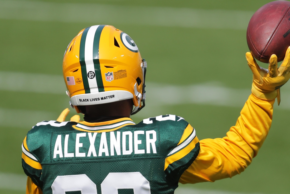 Sep 20, 2020; Green Bay, WI, USA;  Green Bay Packers cornerback Jaire Alexander (23) is seen with a Black Lives Matter message on the back of his helmet before the Green Bay Packers play the Detroit Lions at Lambeau Field in Green Bay on Sunday, Sept. 20, 2020.  Mandatory Credit: Mike De Sisti/Milwaukee Journal Sentinel-USA TODAY NETWORK