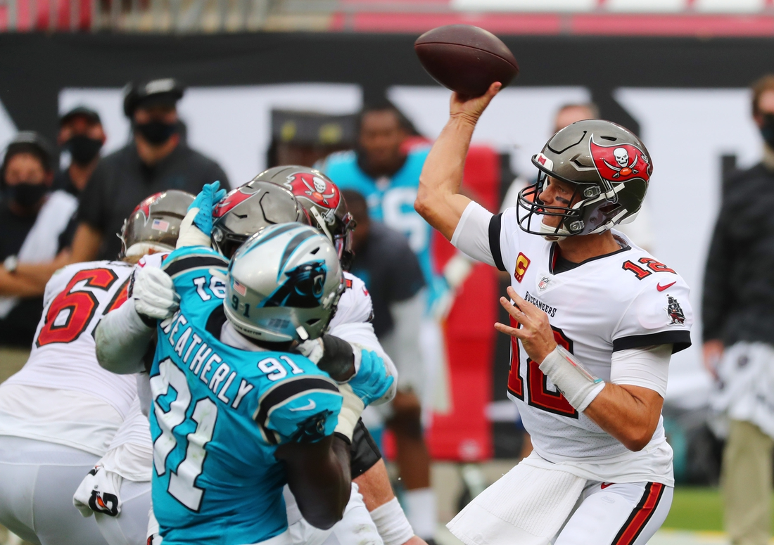 Sep 20, 2020; Tampa, Florida, USA;  Quarterback Tom Brady's first trip to Charlotte, N.C., as a member of the Buccaneers to face the Panthers got off to a rough start, as Tampa Bay's  plane was delayed on Saturday for more than six hours due to mechanical issues.  Mandatory Credit: Kim Klement-USA TODAY Sports