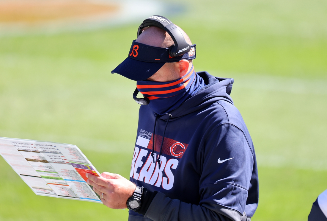Chicago Bears head coach Matt Nagy during the third quarter against the New York Giants at Soldier Field. Mandatory Credit: Mike Dinovo-USA TODAY Sports