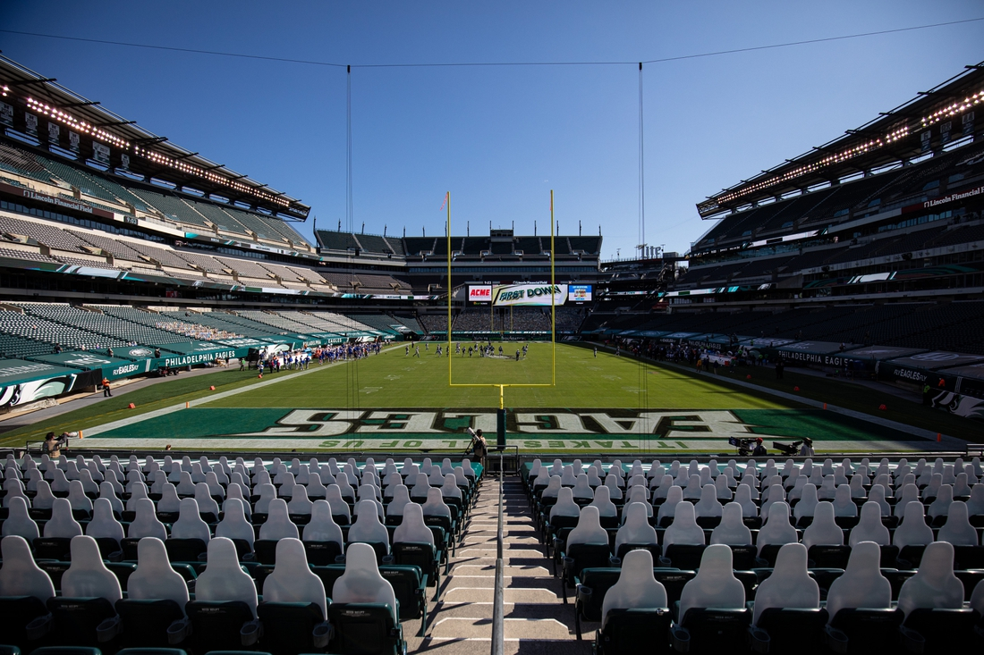Sep 20, 2020; Philadelphia, Pennsylvania, USA; General view during the fourth quarter of a game between the Philadelphia Eagles and the Los Angeles Rams at Lincoln Financial Field. Mandatory Credit: Bill Streicher-USA TODAY Sports