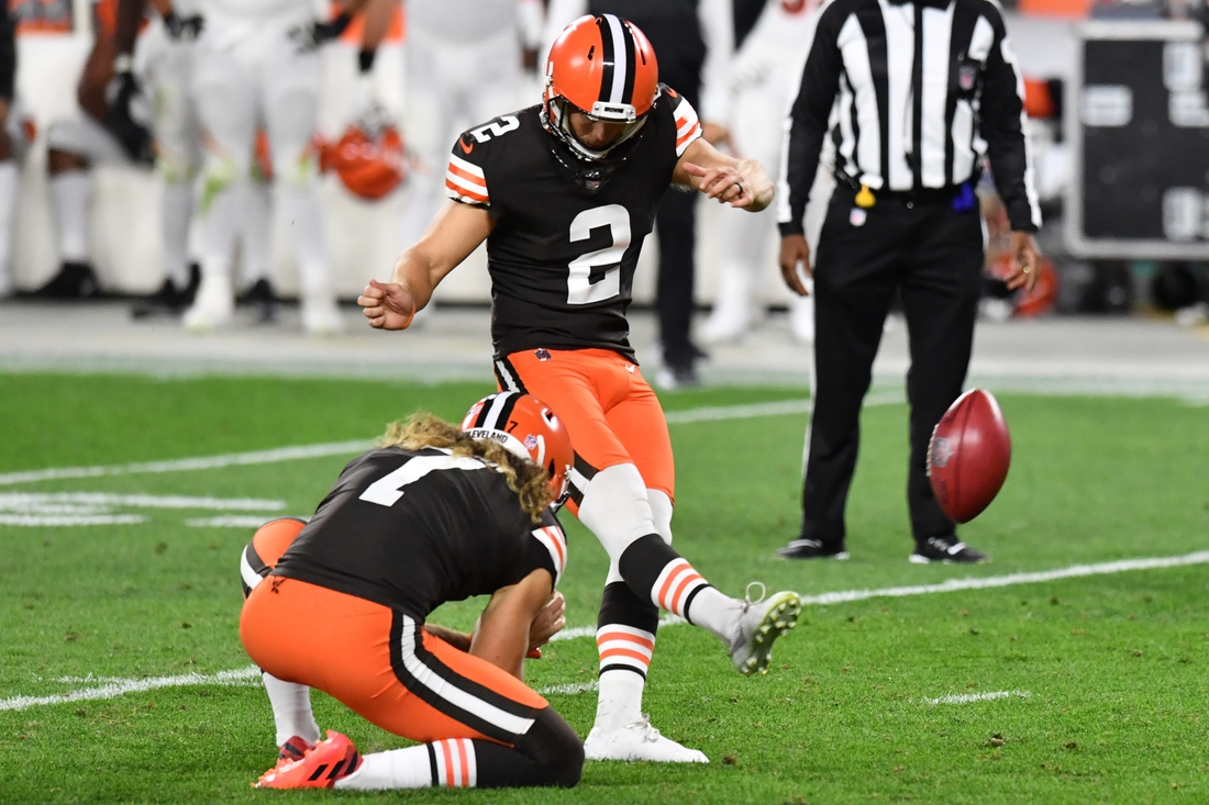 Sep 17, 2020; Cleveland, Ohio, USA; Cleveland Browns kicker Cody Parkey (2) kicks an extra point during the second half against the Cincinnati Bengals at FirstEnergy Stadium. Mandatory Credit: Ken Blaze-USA TODAY Sports