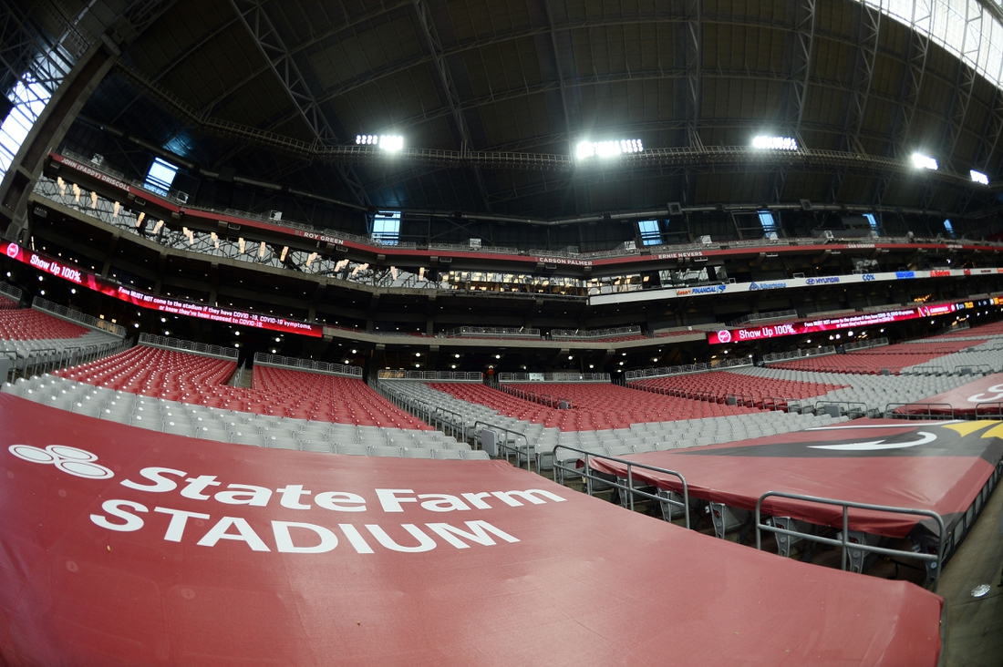 Sep 20, 2020; Glendale, Arizona, USA; A general view of State Farm Stadium prior to the game between the Arizona Cardinals and the Washington Football Team. Mandatory Credit: Joe Camporeale-USA TODAY Sports
