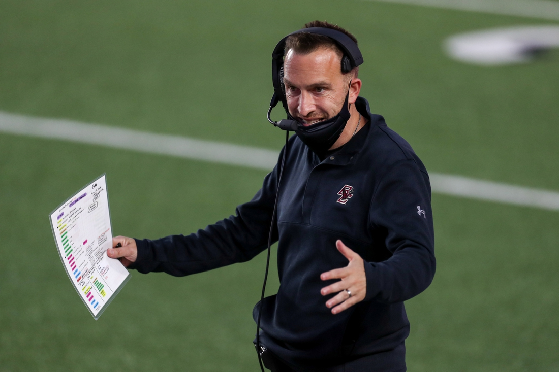 Sep 26, 2020; Chestnut Hill, Massachusetts, USA; Boston College Eagles head coach Jeff Hafley reacts during the first half against the Texas State Bobcats at Alumni Stadium. Mandatory Credit: Paul Rutherford-USA TODAY Sports