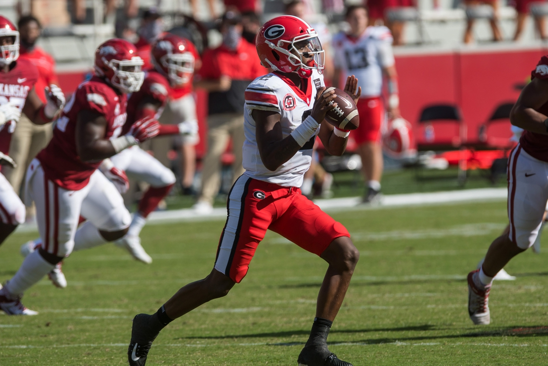 Sep 26, 2020; Fayetteville, Arkansas, USA;  Georgia Bulldogs quarterback D'Wan Mathis (2) gets ready to pass the ball during the first quarter of the game against the Arkansas Razorbacks at Donald W. Reynolds Razorback Stadium. Georgia won the game 37-10. Mandatory Credit: Brett Rojo-USA TODAY Sports