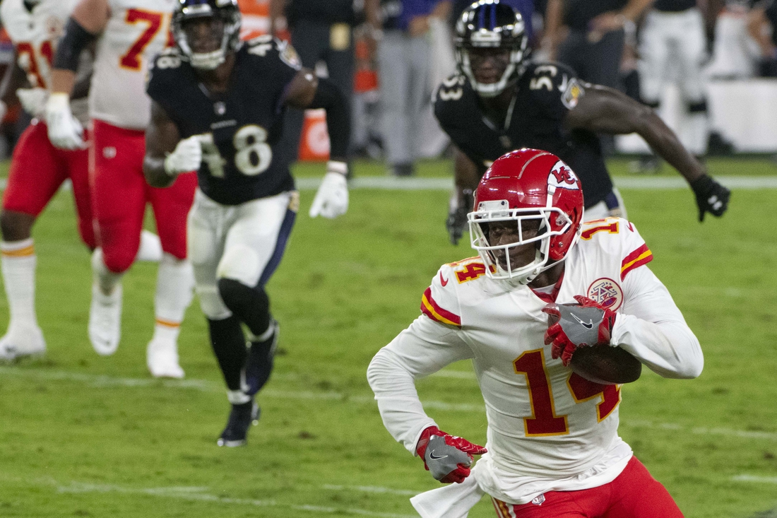Sep 28, 2020; Baltimore, Maryland, USA;  Kansas City Chiefs wide receiver Sammy Watkins (14) runs after the catch during the first half against the Baltimore Ravens at M&T Bank Stadium. Mandatory Credit: Tommy Gilligan-USA TODAY Sports