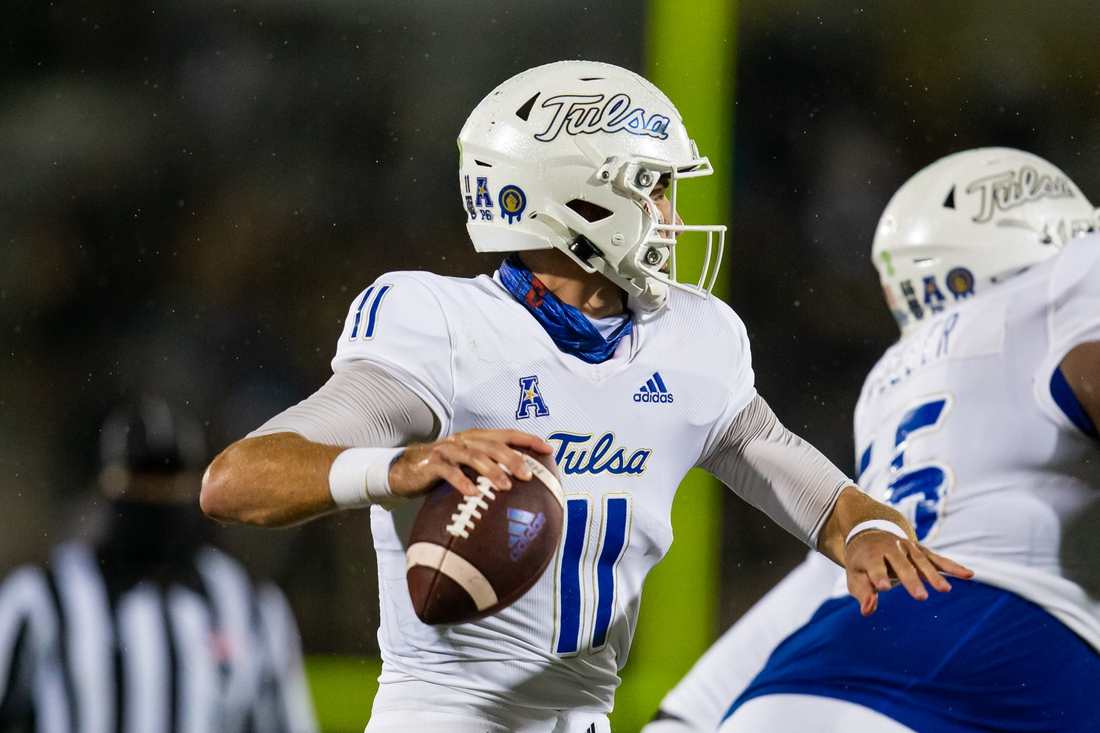 Oct 3, 2020; Orlando, Florida, USA; Tulsa Golden Hurricane quarterback Zach Smith (11) prepares to pass during the first quarter of a game against the UCF Knights at Spectrum Stadium. Mandatory Credit: Mary Holt-USA TODAY Sports