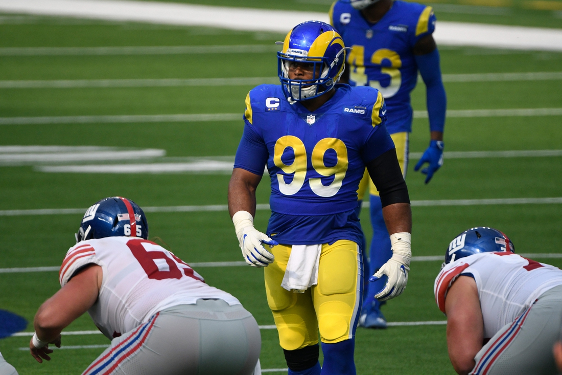 Oct 4, 2020; Inglewood, California, USA; Los Angeles Rams defensive end Aaron Donald (99) during the second half against the New York Giants at SoFi Stadium. Mandatory Credit: Robert Hanashiro-USA TODAY Sports