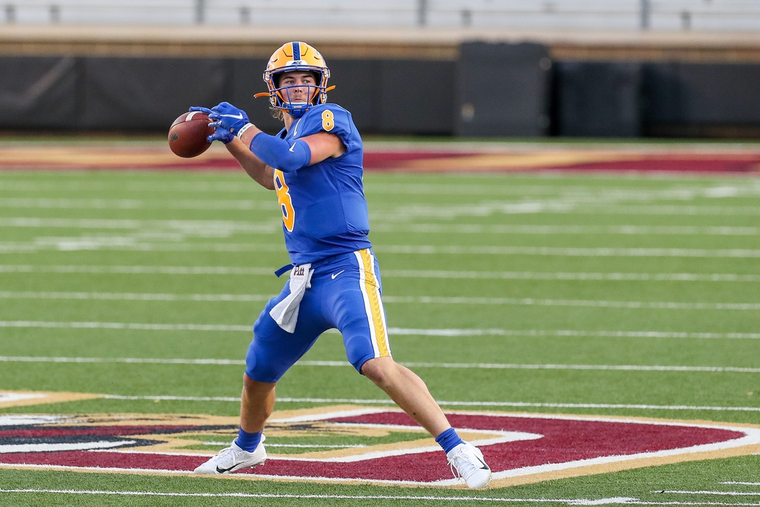 Oct 10, 2020; Chestnut Hill, Massachusetts, USA; Pittsburgh Panthers quarterback Kenny Pickett (8) passes the ball during the first half against the Boston College Eagles at Alumni Stadium. Mandatory Credit: Paul Rutherford-USA TODAY Sports