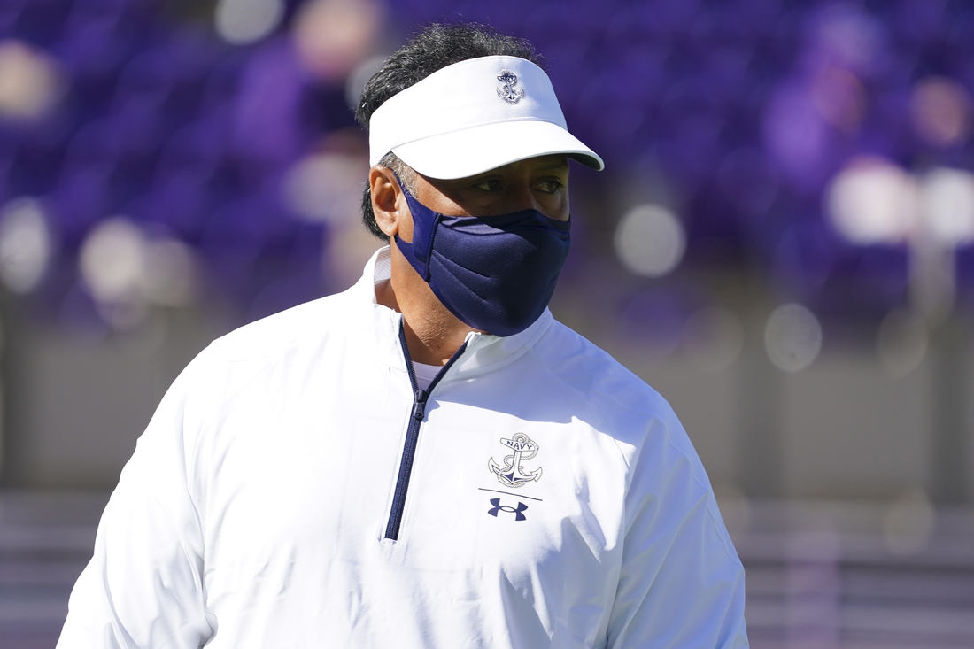 Oct 17, 2020; Greenville, North Carolina, USA;  Navy Midshipmen coach Ken Niumatalolo looks on before the game against the East Carolina Pirates at Dowdy-Ficklen Stadium. Mandatory Credit: James Guillory-USA TODAY Sports