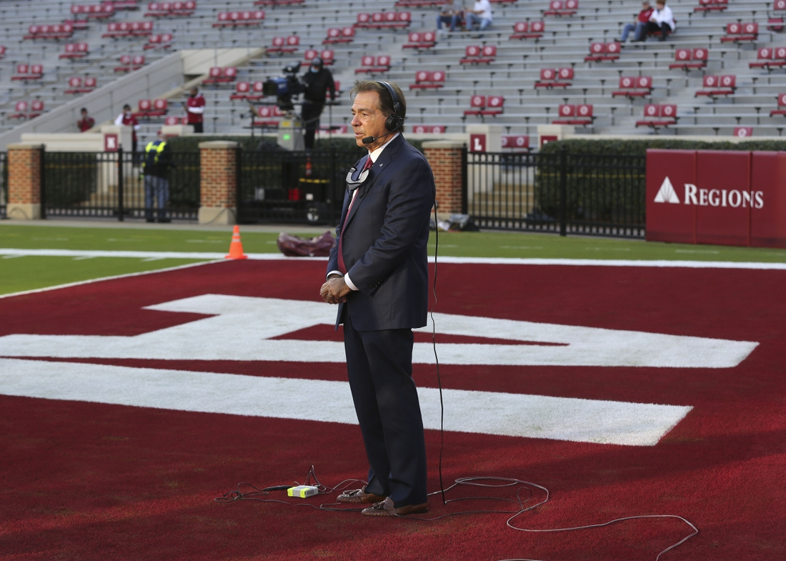Oct 17, 2020; Tuscaloosa, Alabama, USA; Alabama head coach Nick Saban participates in an interview before the game with Georgia at Bryant-Denny Stadium. Saban was cleared by the SEC to coach the game after having a positive COVID-19 test earlier in the week. Mandatory Credit: Gary Cosby Jr/The Tuscaloosa News via USA TODAY Sports