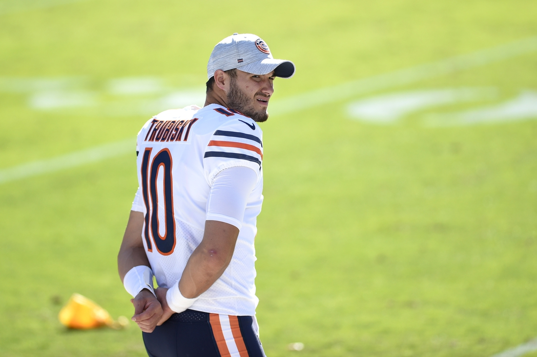 Oct 18, 2020; Charlotte, North Carolina, USA; Chicago Bears quarterback Mitchell Trubisky (10) on the sidelines in the third quarter at Bank of America Stadium. Mandatory Credit: Bob Donnan-USA TODAY Sports