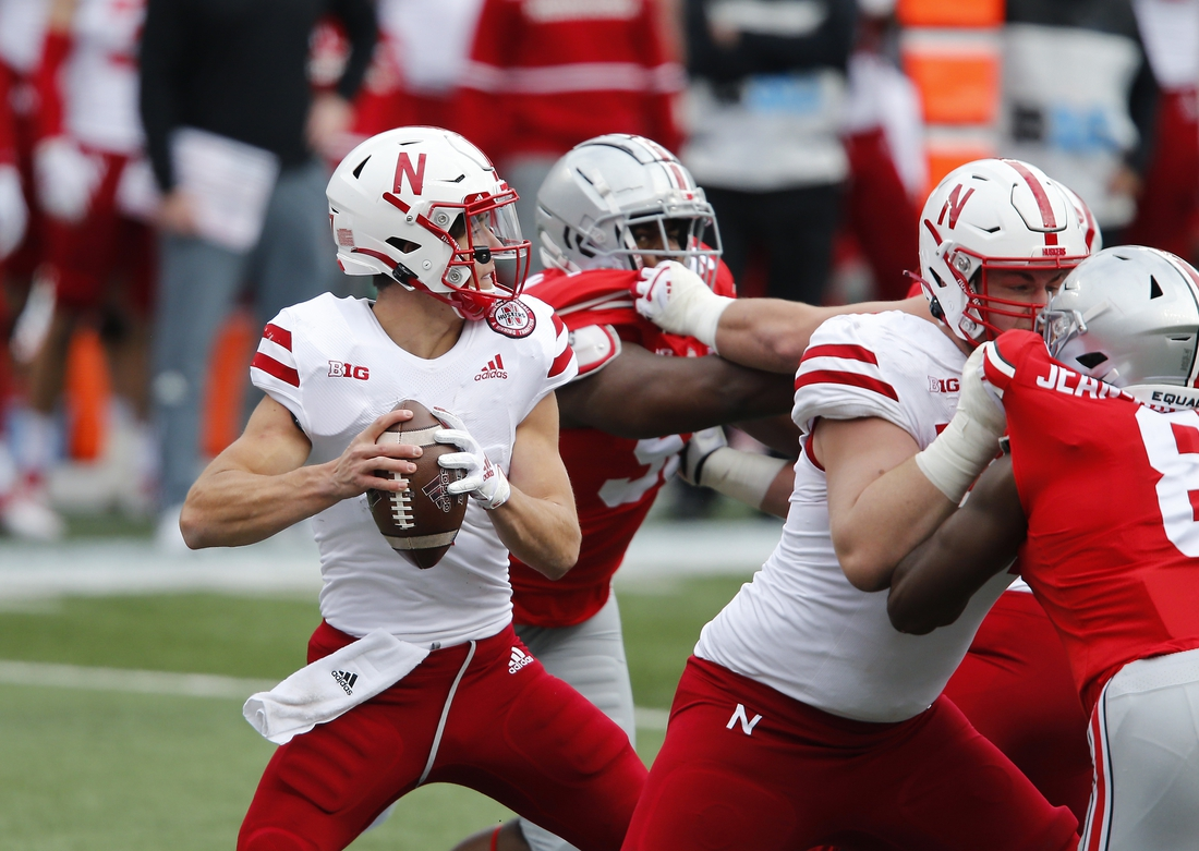 Oct 24, 2020; Columbus, Ohio, USA; Nebraska Cornhuskers quarterback Luke McCaffrey (7) drops to throw during the third quarter against the Ohio State Buckeyes at Ohio Stadium. Mandatory Credit: Joseph Maiorana-USA TODAY Sports