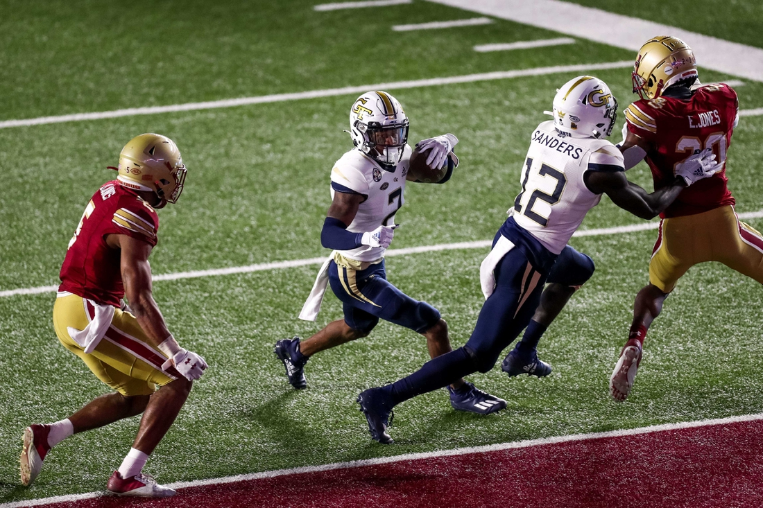 Oct 24, 2020; Chestnut Hill, Massachusetts, USA; Georgia Tech Yellow Jackets receiver Ahmarean Brown (2) runs the ball for a touchdown during the second half against the Boston College Eagles at Alumni Stadium. Mandatory Credit: Paul Rutherford-USA TODAY Sports