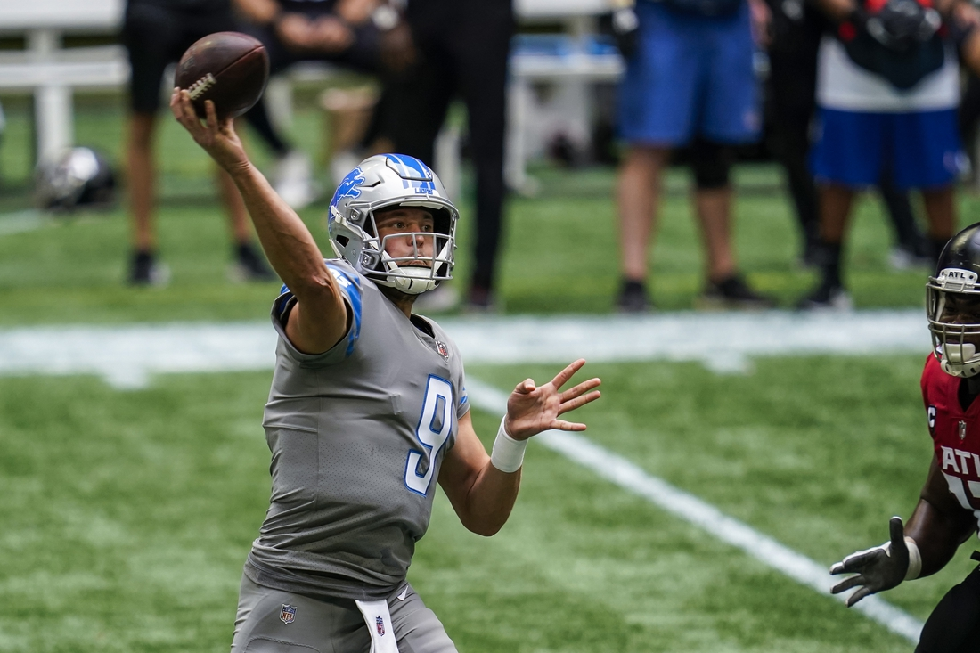 Oct 25, 2020; Atlanta, Georgia, USA; Detroit Lions quarterback Matthew Stafford (9) passes against the Atlanta Falcons during the first half at Mercedes-Benz Stadium. Mandatory Credit: Dale Zanine-USA TODAY Sports