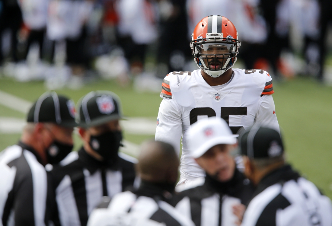 Oct 25, 2020; Cincinnati, Ohio, USA; Cleveland Browns defensive end Myles Garrett (95) waits for the call during the first half against the Cincinnati Bengals at Paul Brown Stadium. Mandatory Credit: Joseph Maiorana-USA TODAY Sports