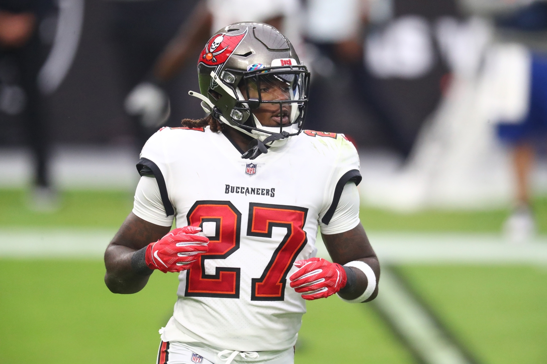 Oct 25, 2020; Paradise, Nevada, USA; Tampa Bay Buccaneers running back Ronald Jones II (27) against the Las Vegas Raiders at Allegiant Stadium. Mandatory Credit: Mark J. Rebilas-USA TODAY Sports