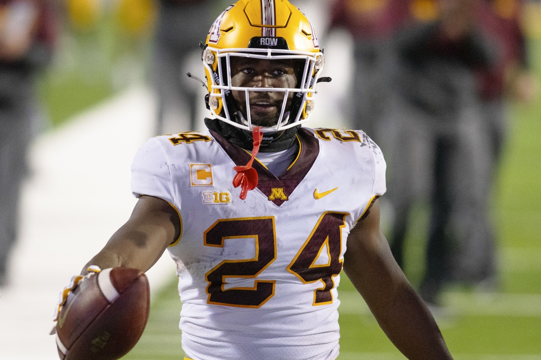 Oct 30, 2020; College Park, Maryland, USA;   Minnesota Golden Gophers running back Mohamed Ibrahim (24) reacts after scoring a touchdown during the second quarter against the Maryland Terrapins at Capital One Field at Maryland Stadium. Mandatory Credit: Tommy Gilligan-USA TODAY Sports